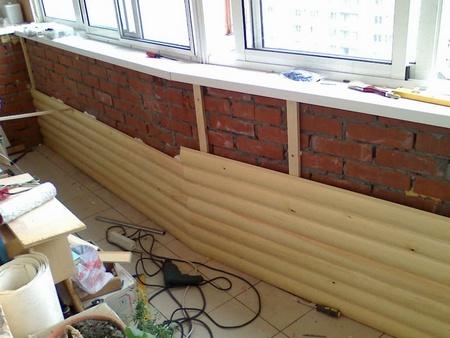 Обшивка кирпичных стен вагонкой