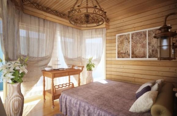 Отделка вагонкой из дерева спальной комнаты