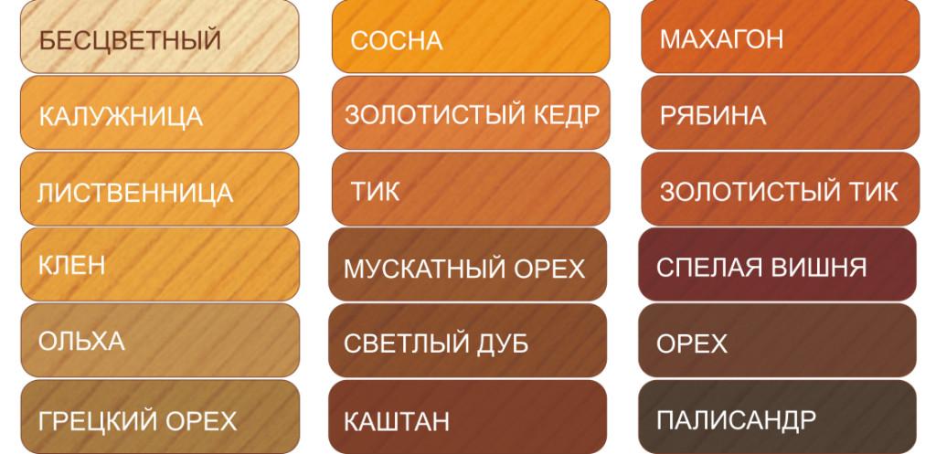 Цветовая палитра лака
