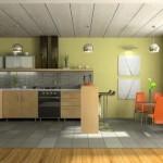 Современный интерьер кухни, оформление потолка панелями
