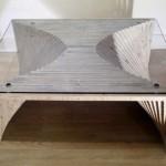 Журнальный столик вагонка-стекло