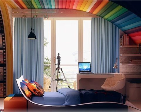 Разноцветная вагонка на потолке