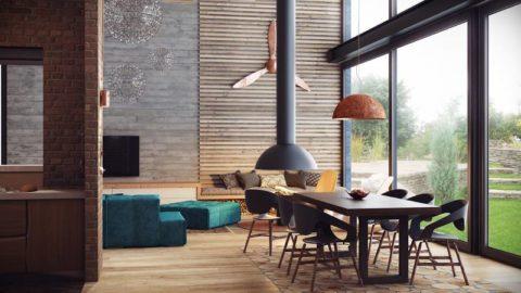 Вагонка в качестве элемента декора стены в помещении, оформленном в стиле «Лофт»