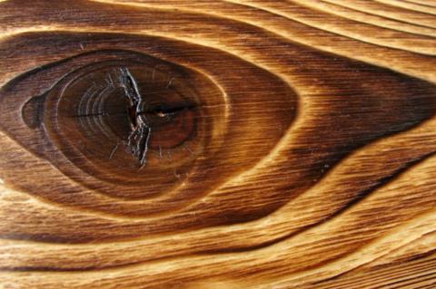 Вид древесины после обжига