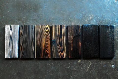 Виды обожженной древесины