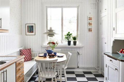 Белая вагонка на кухне