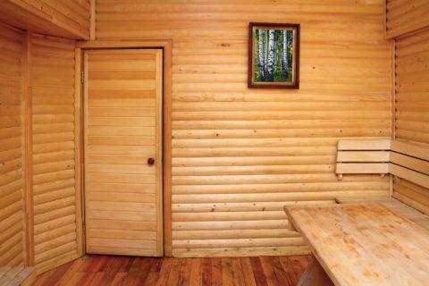 В этом помещении дверь из вагонки смотрится гармонично
