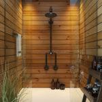 Такая ванная больше ассоциируется с сауной, чем с городским санузлом