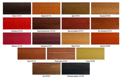 Варианты цветового ассортимента морилок